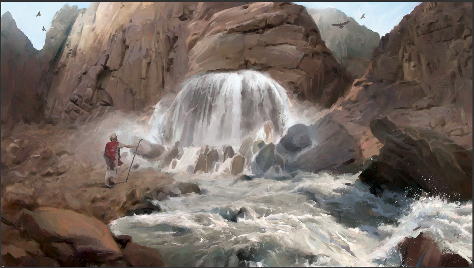 Image result for Moses splitting the rock to get water cartoon